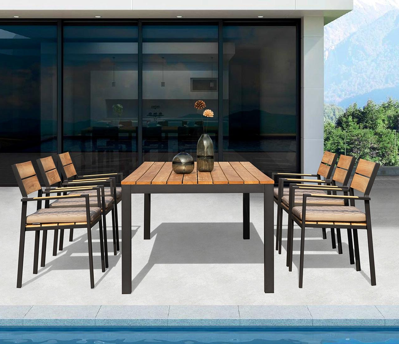 Modern Teak And Aluminium Garden Dining Table And Armchair Sets Pertaining To Most Recent 6 Seater Retangular Wood Contemporary Dining Tables (View 13 of 25)