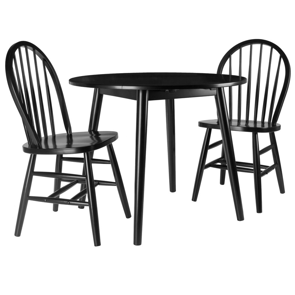 Moreno 3 Pc Set Drop Leaf Table With Chairs, Black Finish Inside Trendy Transitional 4 Seating Drop Leaf Casual Dining Tables (View 8 of 25)