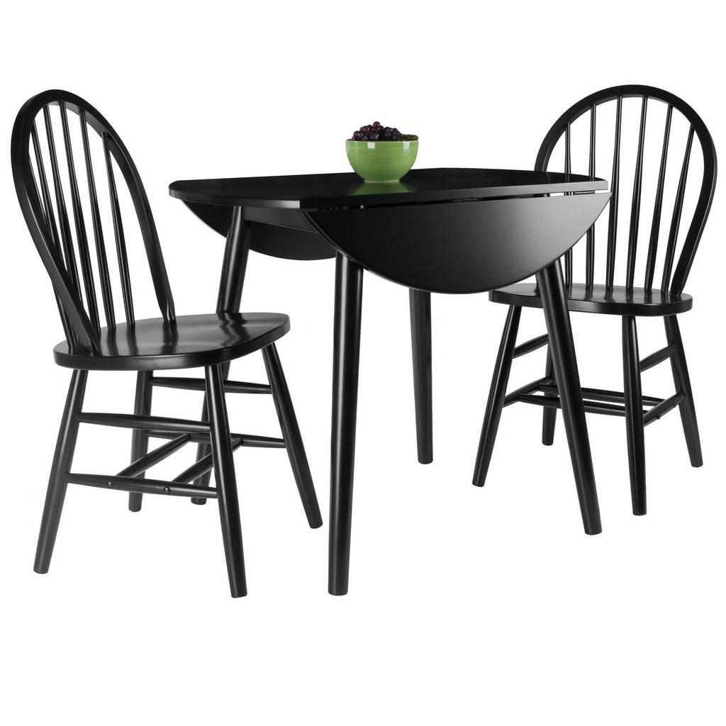 Moreno 3 Pc Set Drop Leaf Table With Chairs, Black Finish With Regard To 2020 Transitional Drop Leaf Casual Dining Tables (View 14 of 25)