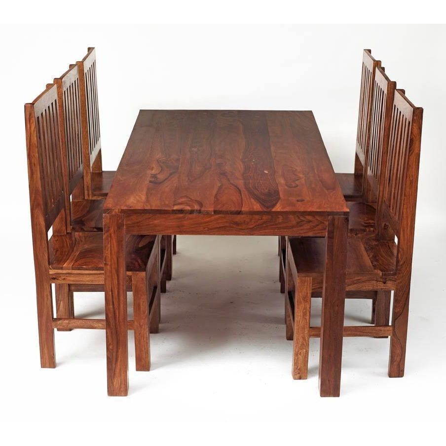 Most Current 6 Seater Dining Set Rectangular Table Honey Wood Finish Regarding 6 Seater Retangular Wood Contemporary Dining Tables (View 10 of 25)