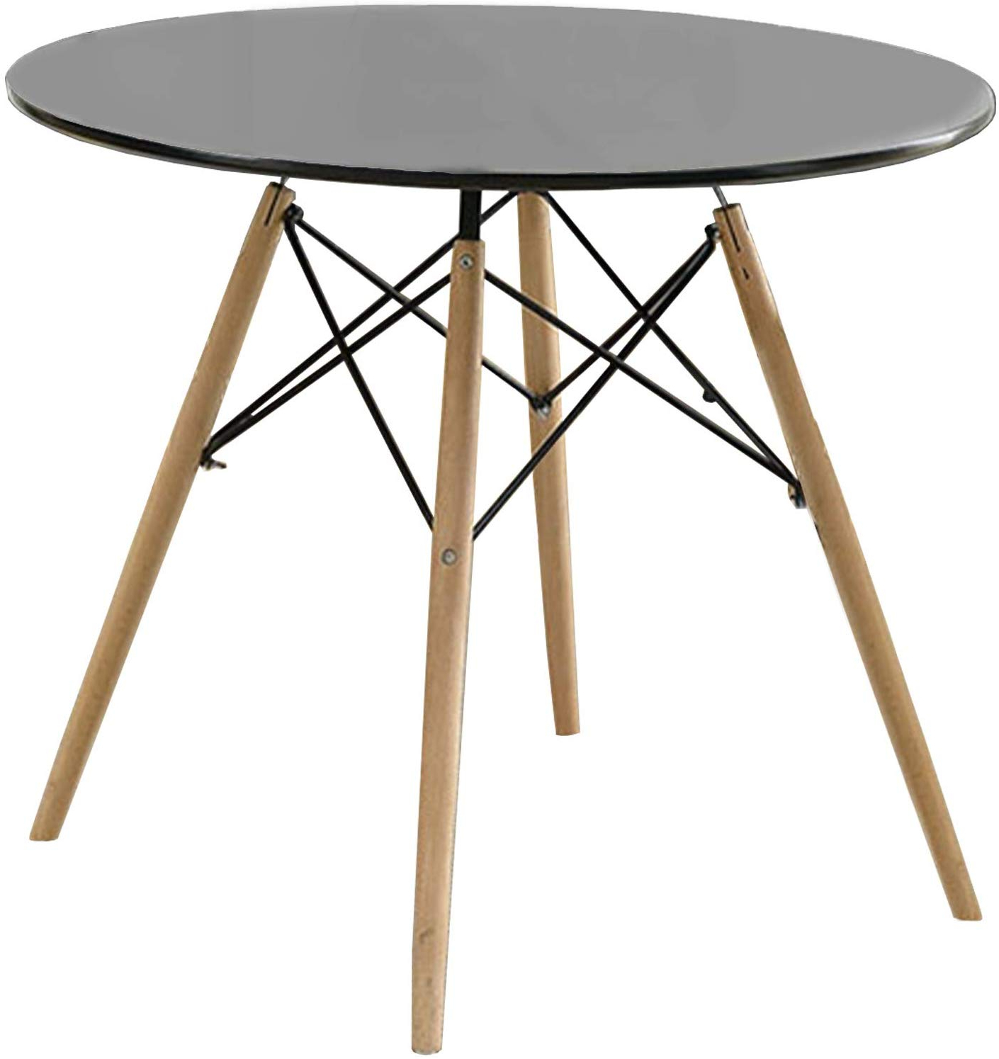 Most Current Amazon – Benzara Round Dining Table With Metal Legs And Throughout Frosted Glass Modern Dining Tables With Grey Finish Metal Tapered Legs (View 17 of 25)