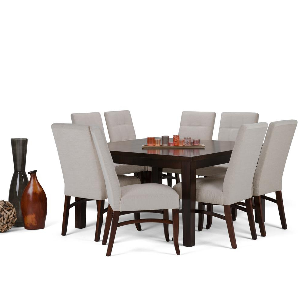 Most Current Artefac Contemporary Casual Dining Tables Inside Simpli Home Ezra 9 Piece Dining Set With 8 Upholstered (View 11 of 25)