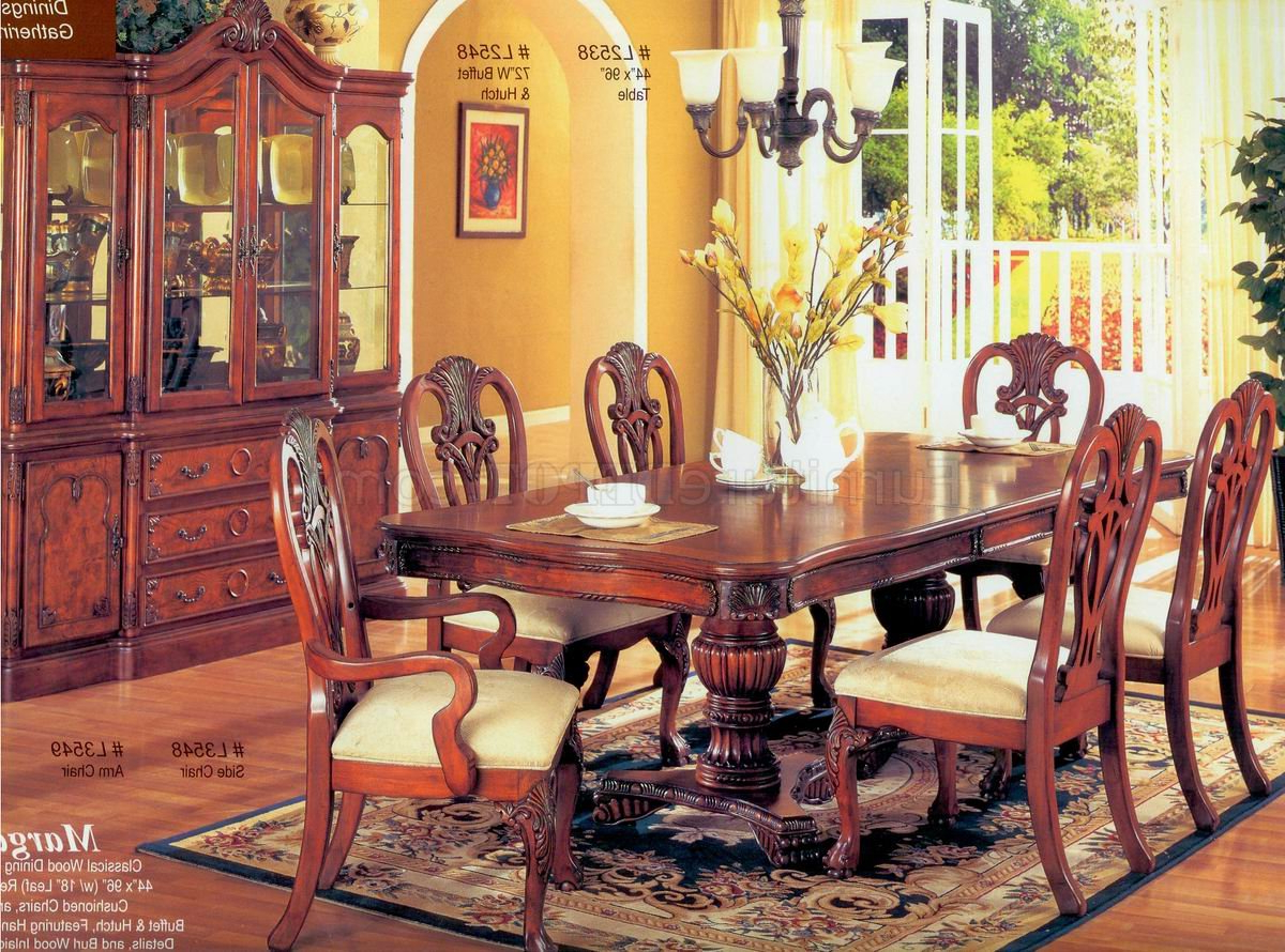 Most Current Brown Finish Classic Wood Dining Table W/optional Items In Espresso Finish Wood Classic Design Dining Tables (View 11 of 17)