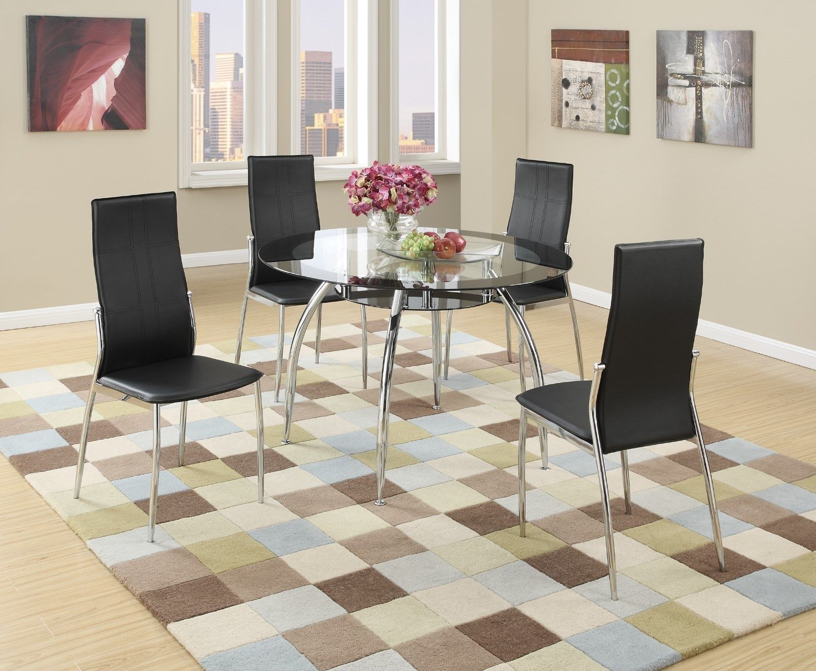 Most Current Details About New Tulsa Ii Modern Round Black Chrome Metal Glass Top Dining Table Kitchen Set Inside Modern Round Glass Top Dining Tables (View 22 of 25)