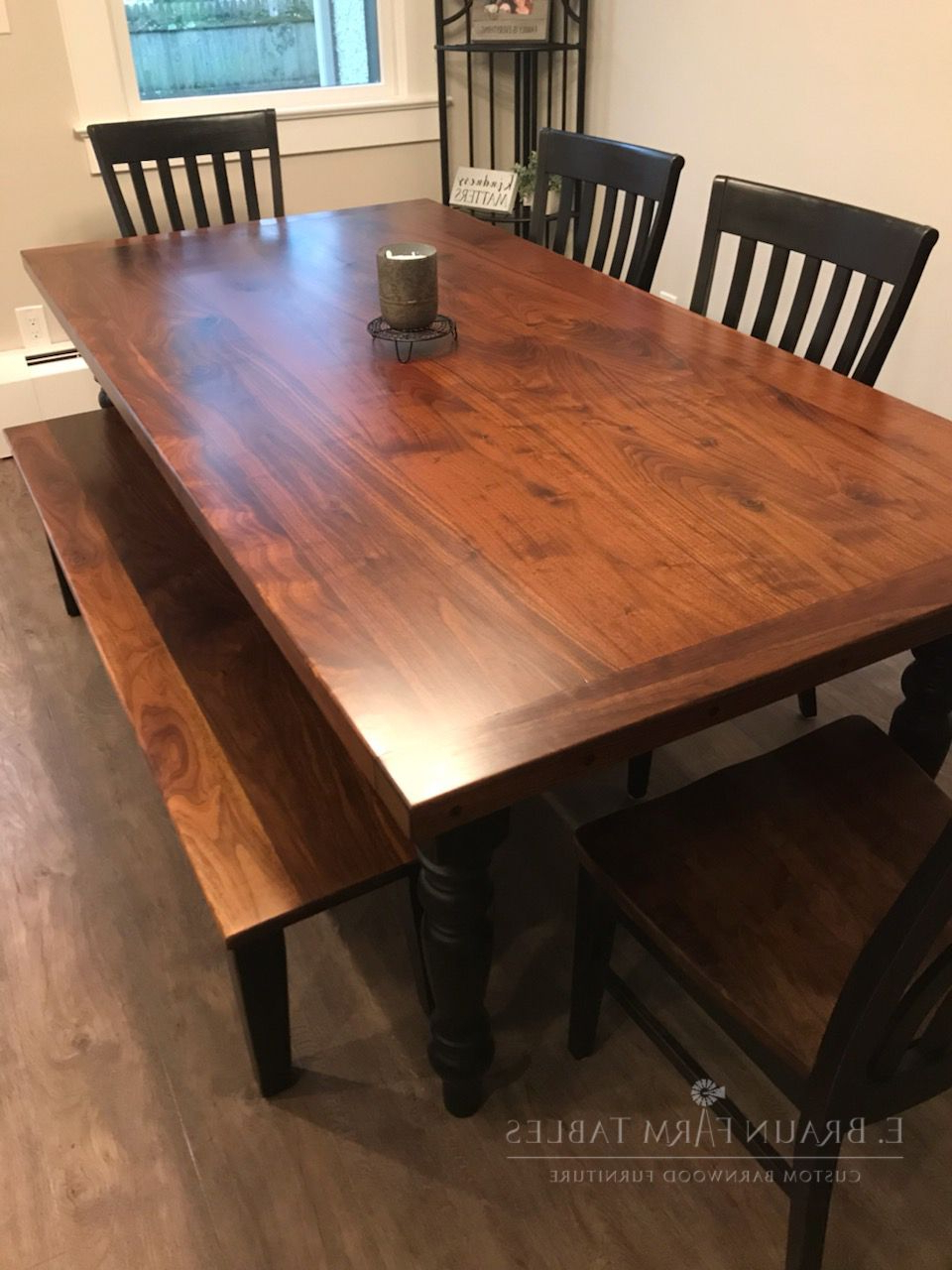 Most Current Distressed Walnut And Black Finish Wood Modern Country Dining Tables Regarding Custom Farmhouse Table – Gorgeous Black Walnut Table Top And (View 6 of 25)