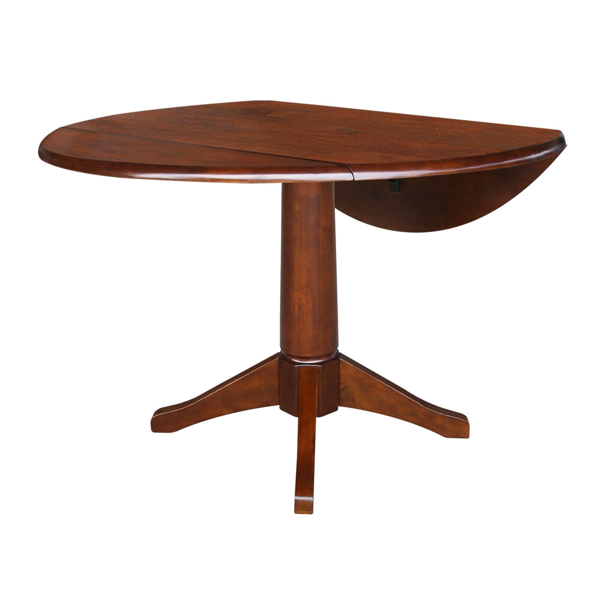 Most Current International Concepts Espresso Wood 42 Inch Round Dual Drop Leaf Table Intended For Alamo Transitional 4 Seating Double Drop Leaf Round Casual Dining Tables (View 17 of 26)