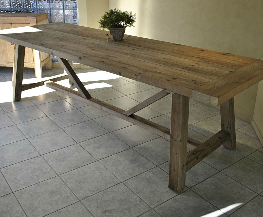 Most Current Large Rustic French Style Recycled Timber Refectory Dining With Large Rustic Look Dining Tables (View 4 of 25)