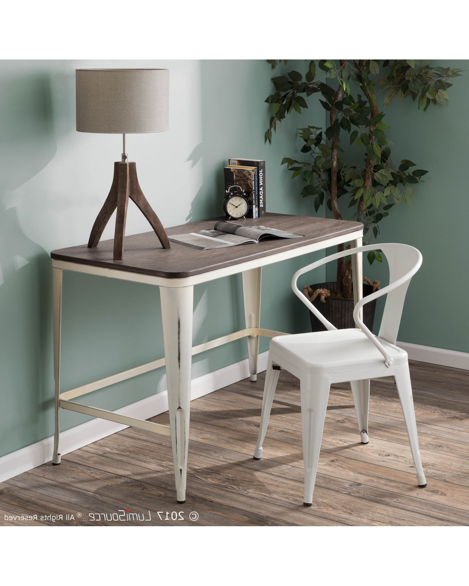 Most Current Pia Industrial Desk – Pia Industrial Desk In Vintage Cream Inside Vintage Cream Frame And Espresso Bamboo Dining Tables (View 11 of 25)