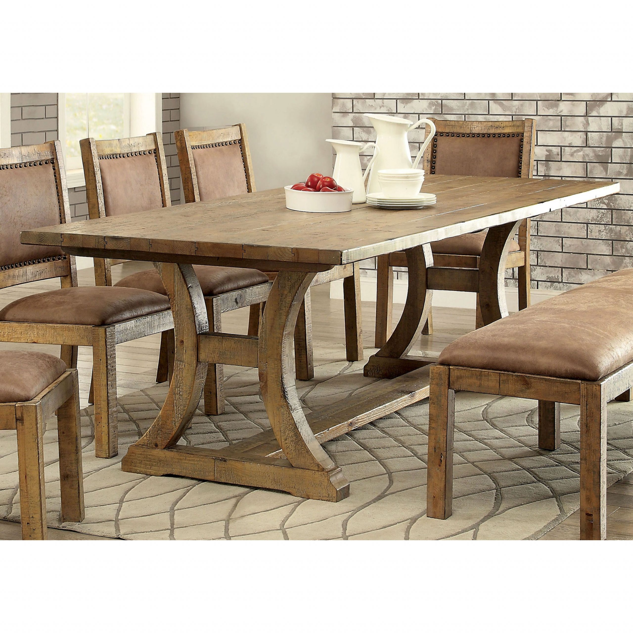 Most Current Small Dining Tables With Rustic Pine Ash Brown Finish Regarding Furniture Of America Matthias Industrial Rustic Pine Dining (View 3 of 25)