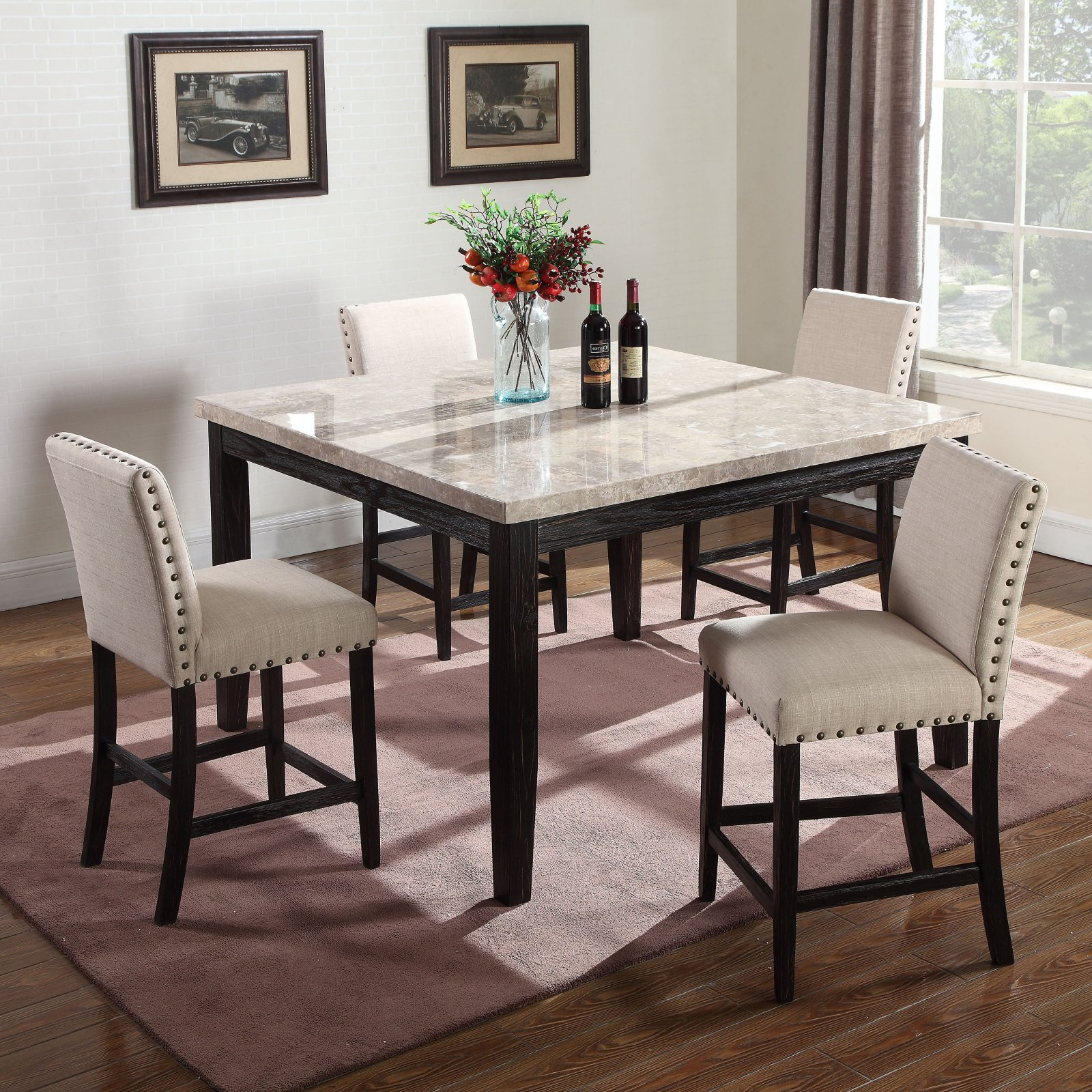 Most Current Transitional Antique Walnut Square Casual Dining Tables Regarding Best Master Furniture Celeste Square 5 Piece Faux Marble (View 7 of 25)