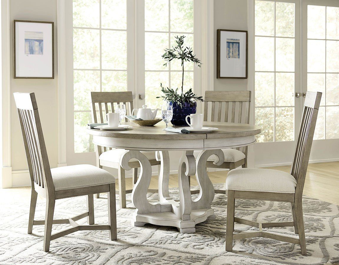 Most Current Transitional Driftwood Casual Dining Tables Within Litchfield Sussex Round Dining Room Set W/ Driftwood Chairs (View 10 of 25)
