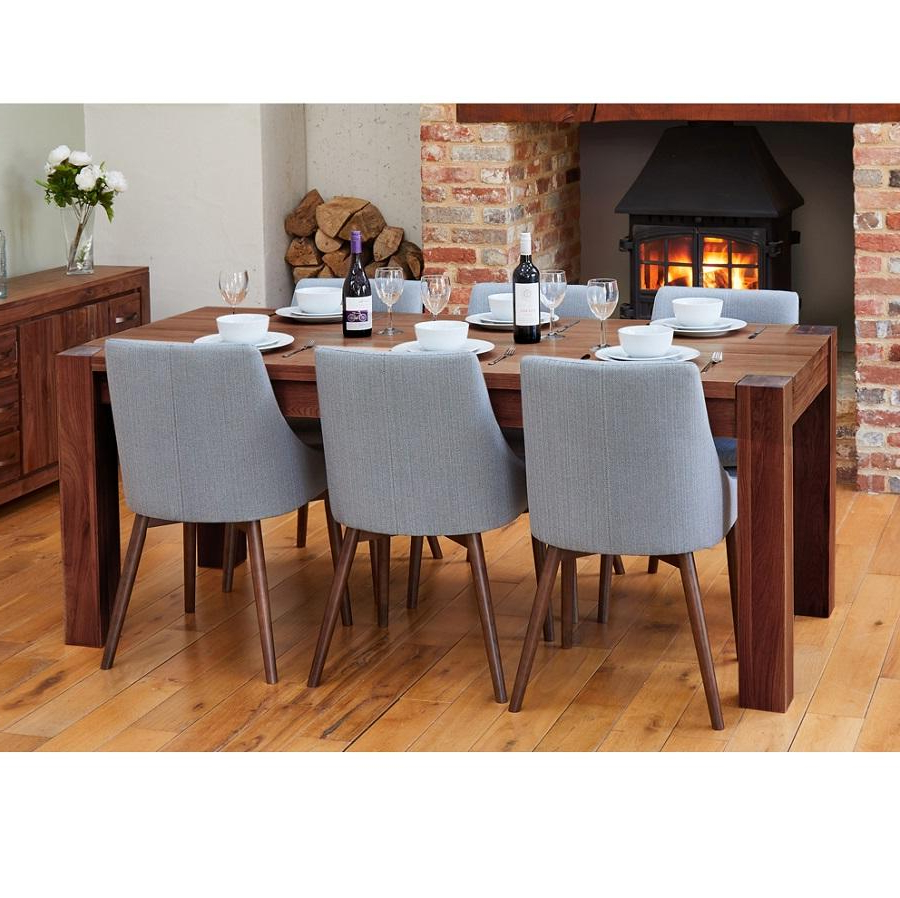 Most Current Walnut Medium Dining Table With 6 Grey Walnut Chairs Within Medium Dining Tables (View 4 of 25)