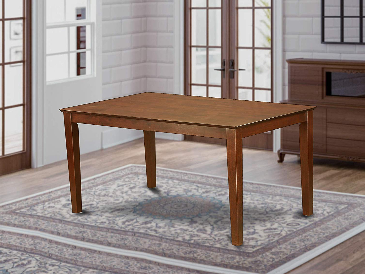"""Most Current Wood Top Dining Tables Throughout Capri Rectangular Dining Table 36""""x60"""" With Solid Wood Top – Mahogany Finish (View 11 of 25)"""