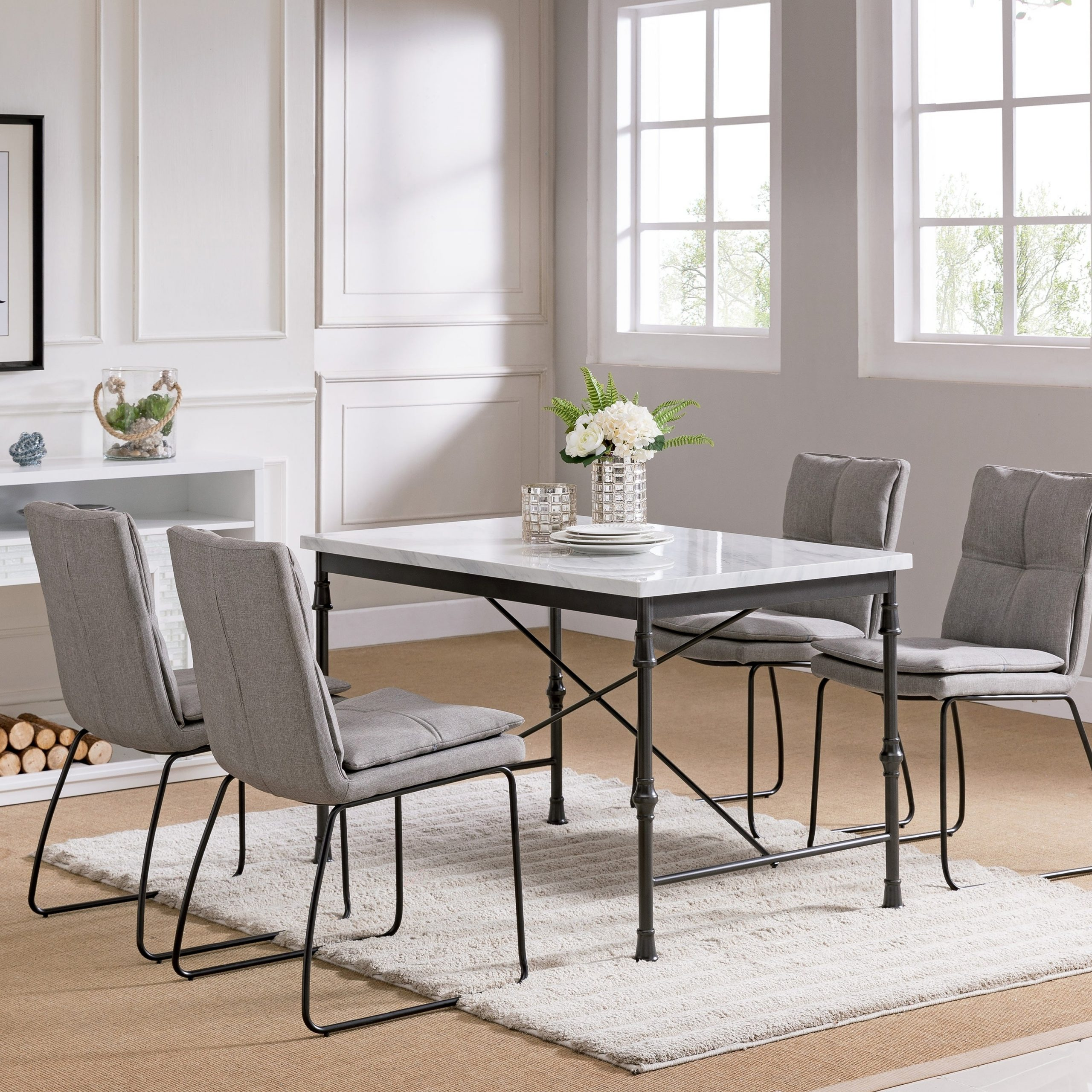 Most Popular Carbon Loft Ivan Faux Marble Dining Table Regarding Faux Marble Finish Metal Contemporary Dining Tables (View 15 of 25)