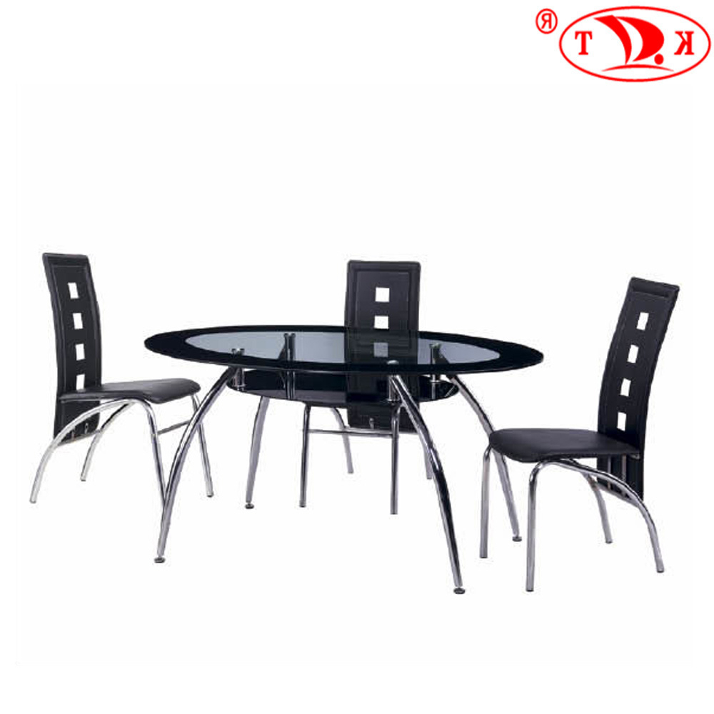 Most Popular Chrome Dining Tables With Tempered Glass Intended For Oval Shape Tempered Glass Top Dining Tables Set With Chrome Legs – Buy Dining Room Furniture,dining Table,dining Sets Product On Alibaba (View 3 of 25)