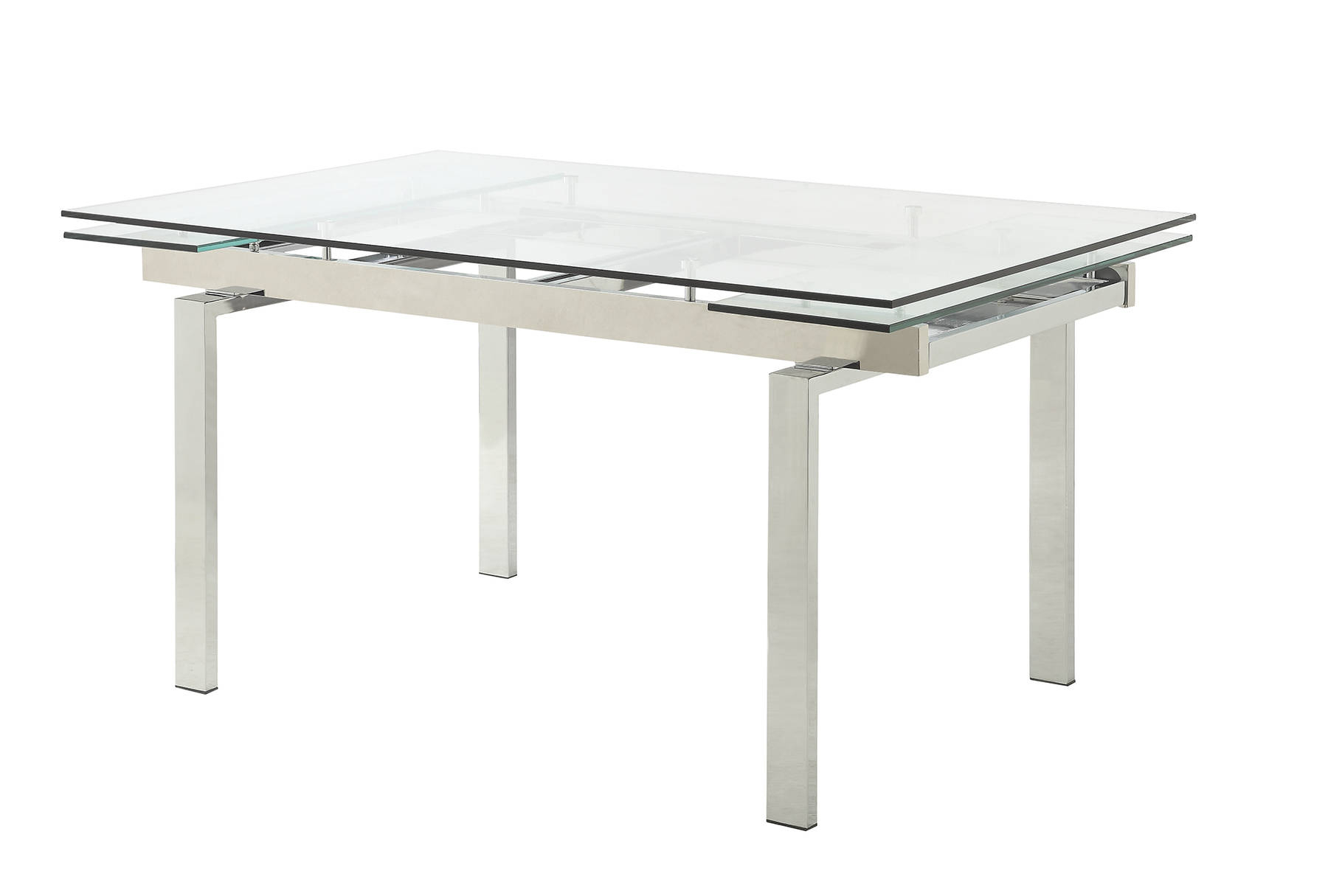 Most Popular Chrome Dining Tables With Tempered Glass Within Wexford Contemporary Chrome Tempered Glass Leaf Extension (View 21 of 25)