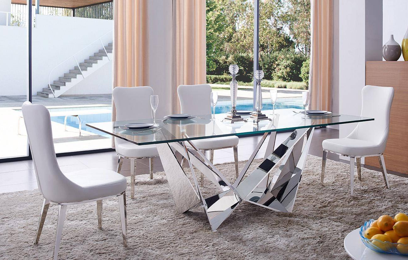 Most Popular Modern Glass Top Extension Dining Tables In Stainless With Regard To Dining Table Stainless Steel W/glass Top Contemporary Made In Italy Esf 2061Dt (View 9 of 25)