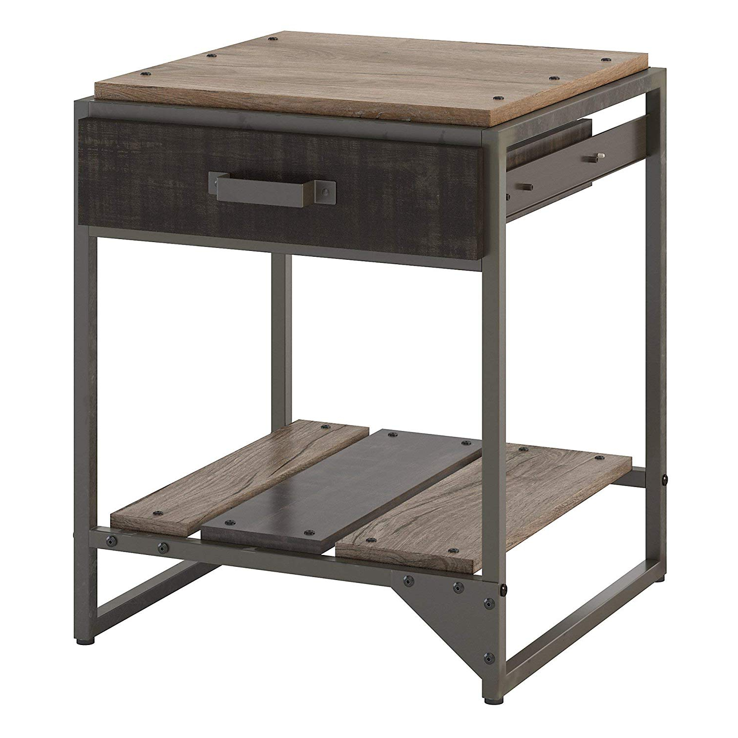 Most Popular Thick White Marble Slab Dining Tables With Weathered Grey Finish Inside Amazon: Bush Furniture Rft120Rg 03 Refinery End Table (View 12 of 25)