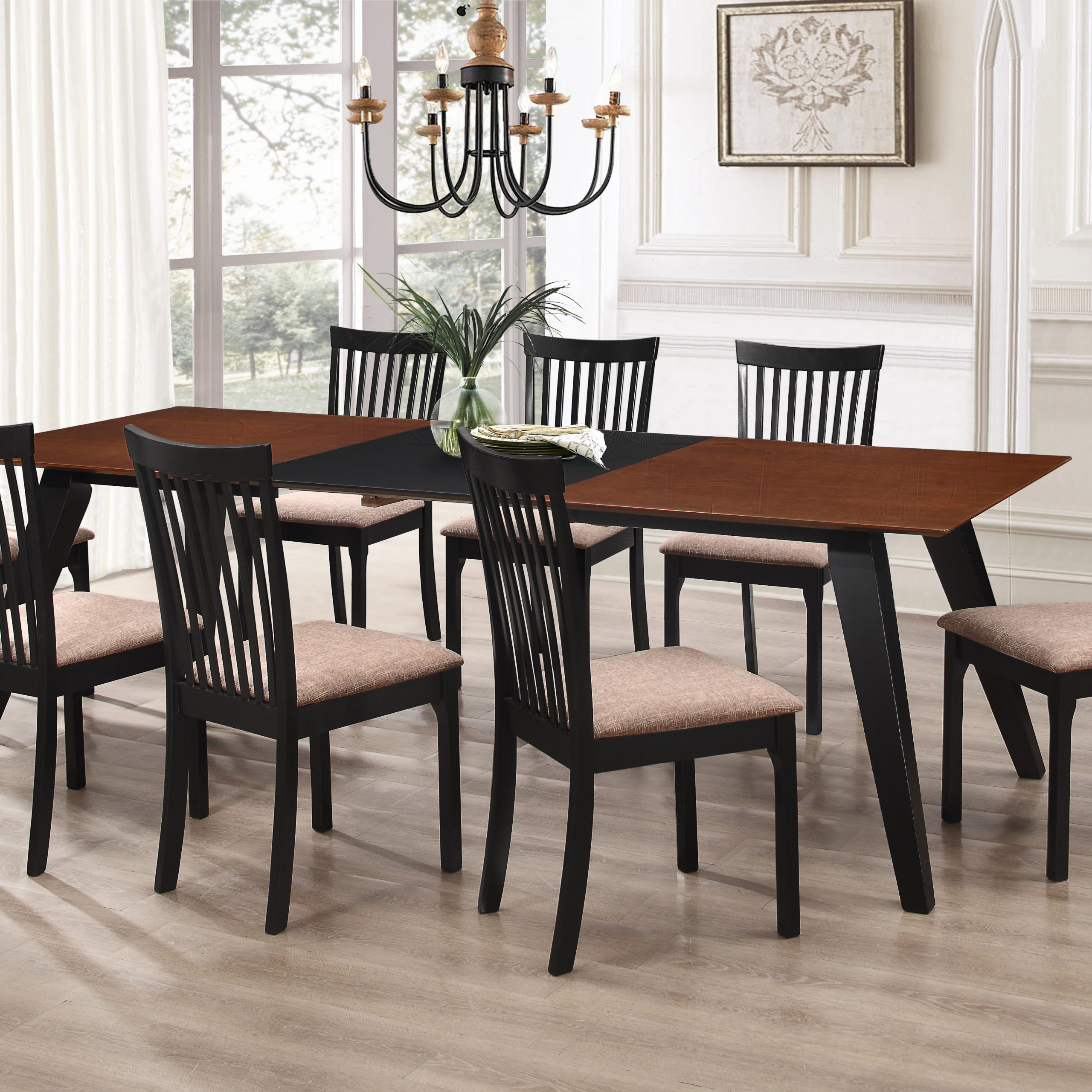 Most Popular Verona 9 Piece Formal Dining Room Set, Walnut Black Wood Pertaining To 8 Seater Wood Contemporary Dining Tables With Extension Leaf (View 14 of 25)