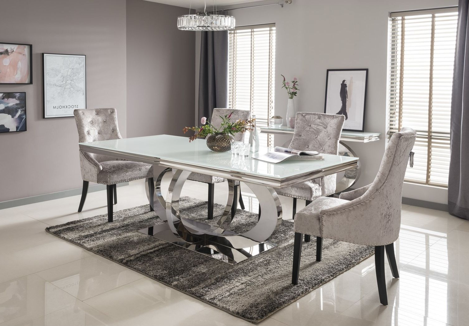 Most Popular Vida Living Orion White Glass Dining Table 180Cm (View 5 of 25)