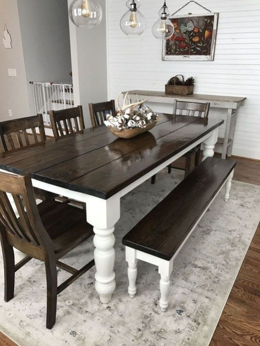 Most Popular Walnut And Antique White Finish Contemporary Country Dining Tables Within 30+ Attractive Farmhouse Dining Room Decoration Ideas (View 2 of 25)