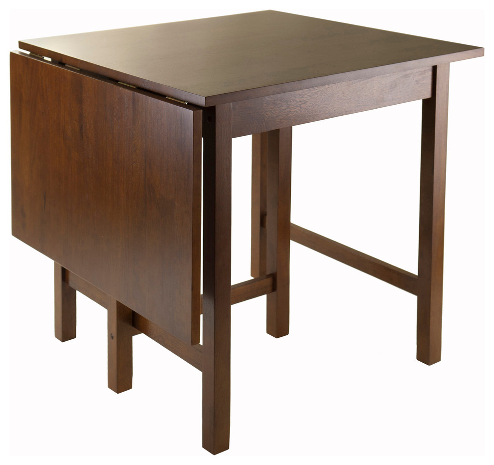 Most Popular Winsome Lynden Drop Leaf Dining Table In Antique Walnut Pertaining To Alamo Transitional 4 Seating Double Drop Leaf Round Casual Dining Tables (View 18 of 26)