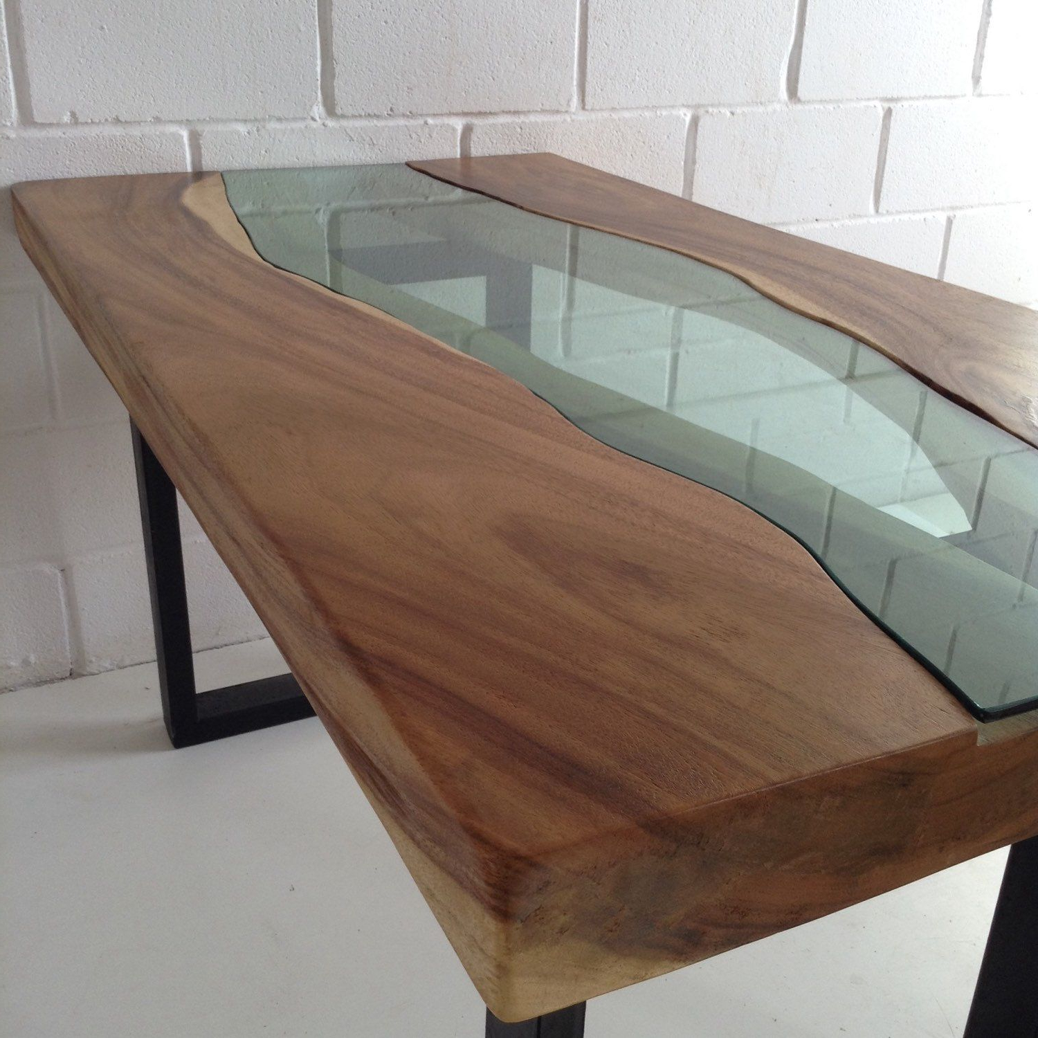 Most Recent Acacia Top Dining Tables With Metal Legs Throughout Live Edge Acacia Wood Dining Table With Glass River Centre (View 4 of 25)