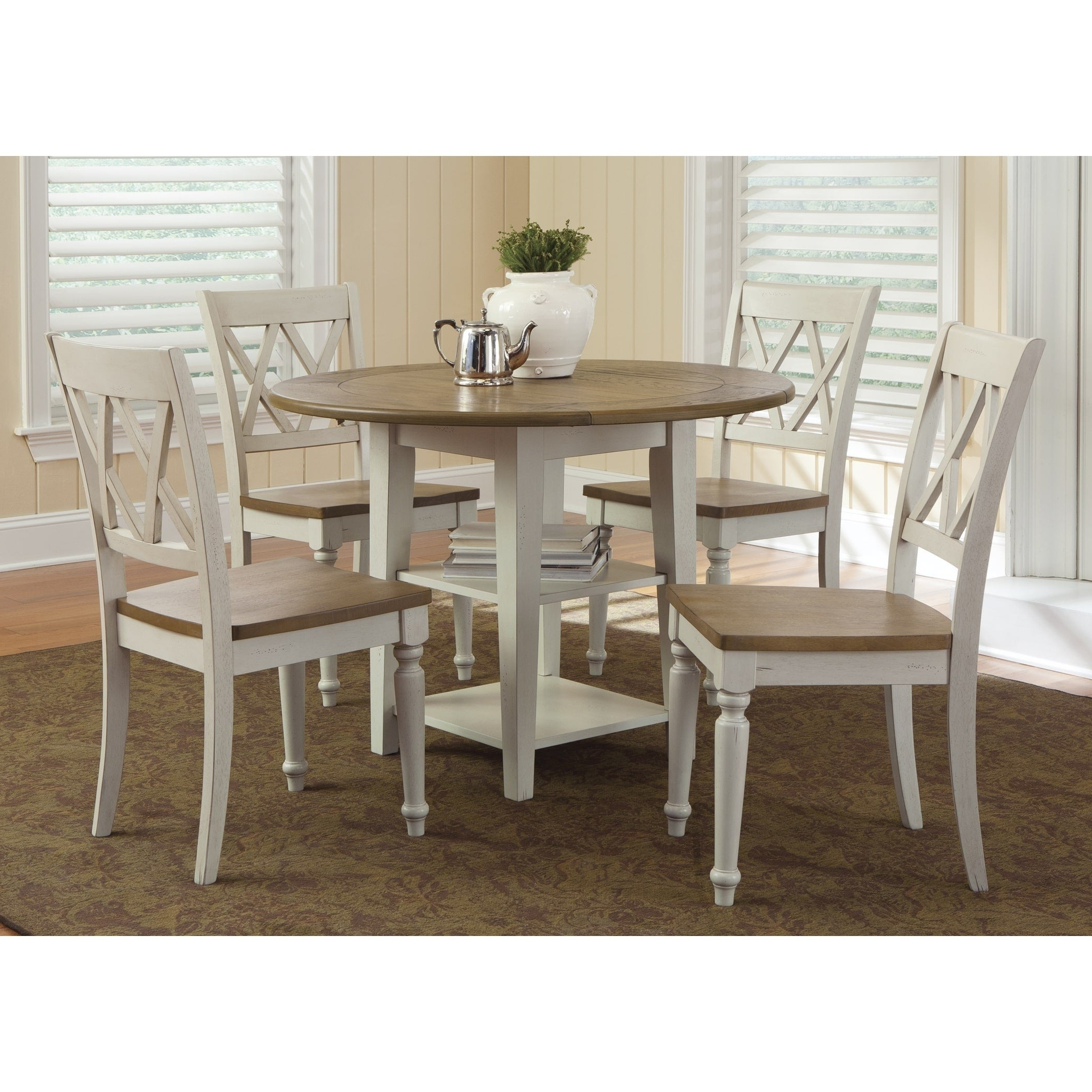 Most Recent Al Fresco Two Tone Transitional Drop Leaf Leg Table – Antique White With Transitional Driftwood Casual Dining Tables (View 11 of 25)