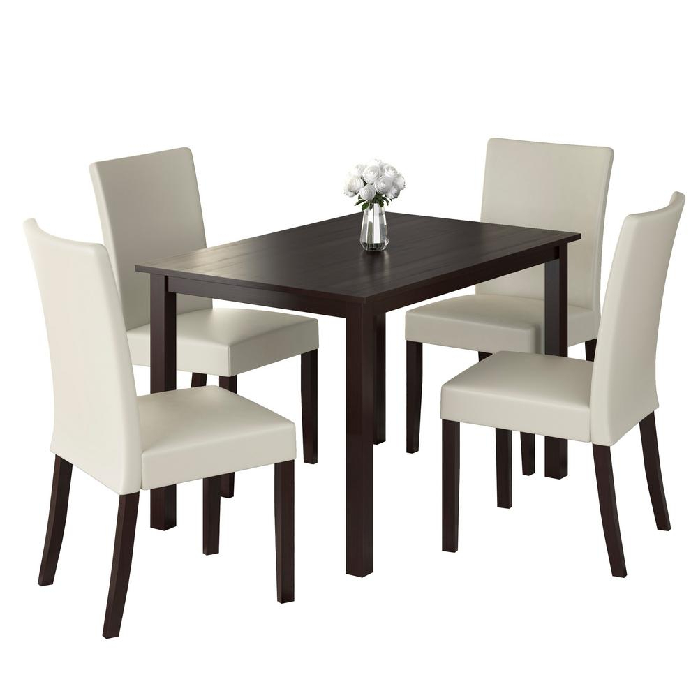 Most Recent Atwood Transitional Square Dining Tables For Corliving Atwood 5 Piece Dining Set With Cream Leatherette (View 9 of 25)