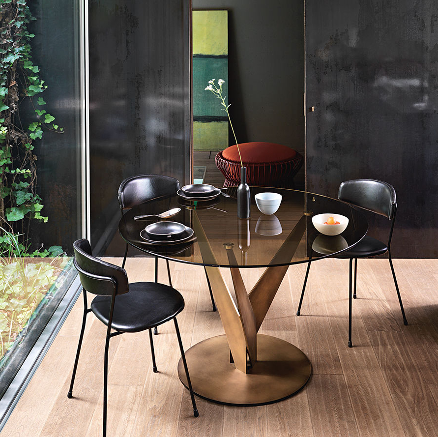 Most Recent Contemporary Dining Table / Smoked Glass / Metal / Round Intended For Smoked Oval Glasstop Dining Tables (View 6 of 25)