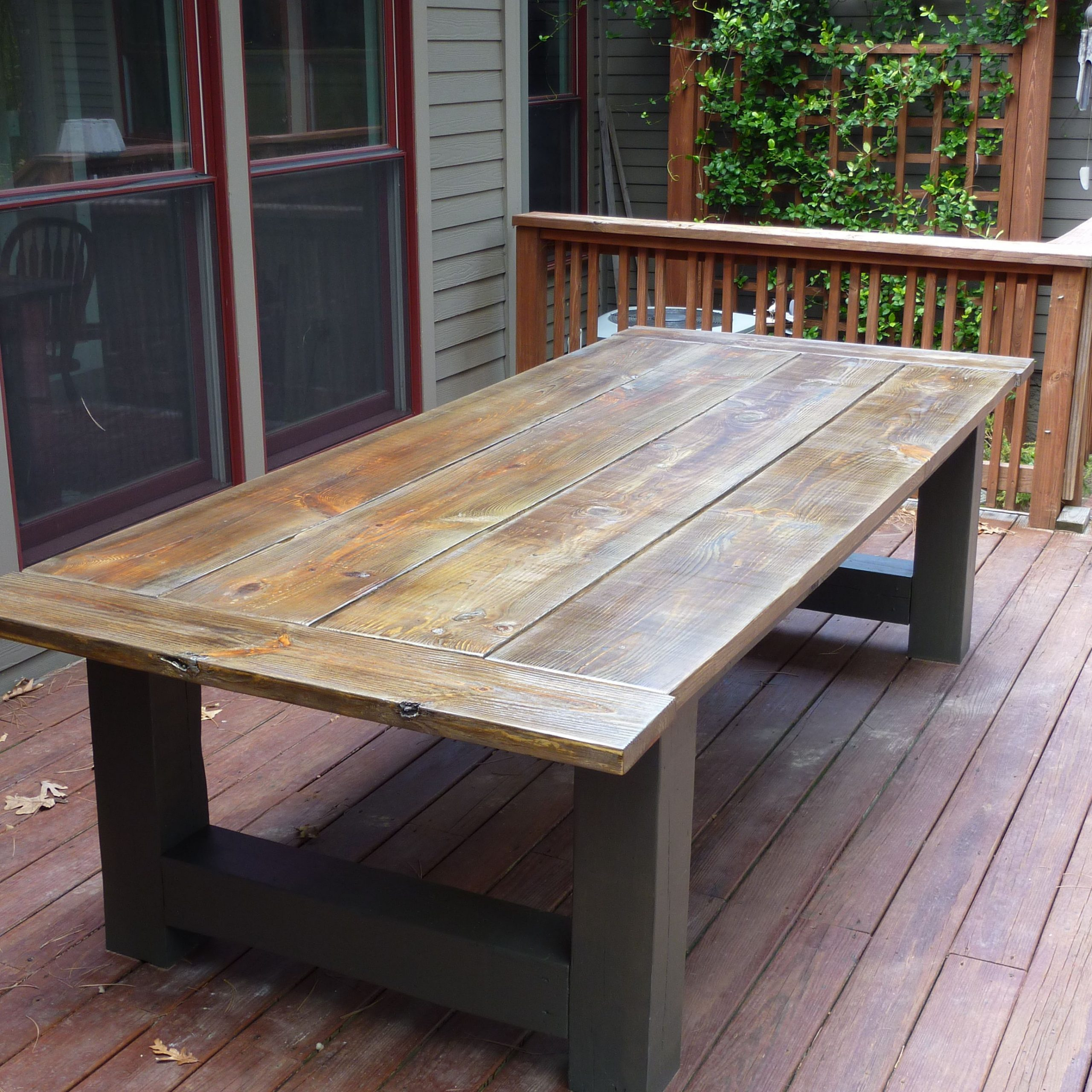 Most Recent Country Dining Tables With Weathered Pine Finish Pertaining To Outdoor Farmhouse Table (View 9 of 25)