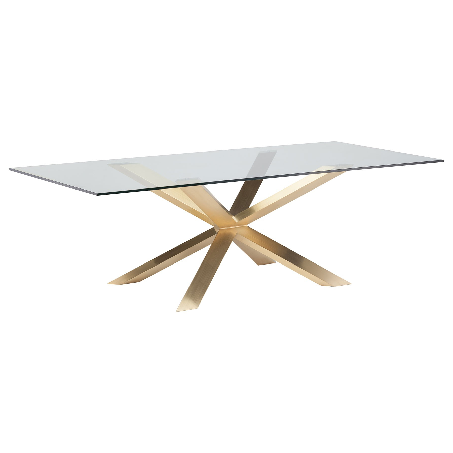 Most Recent Couture Dining Table – Glass / Gold With Regard To Dining Tables With Brushed Gold Stainless Finish (View 3 of 25)