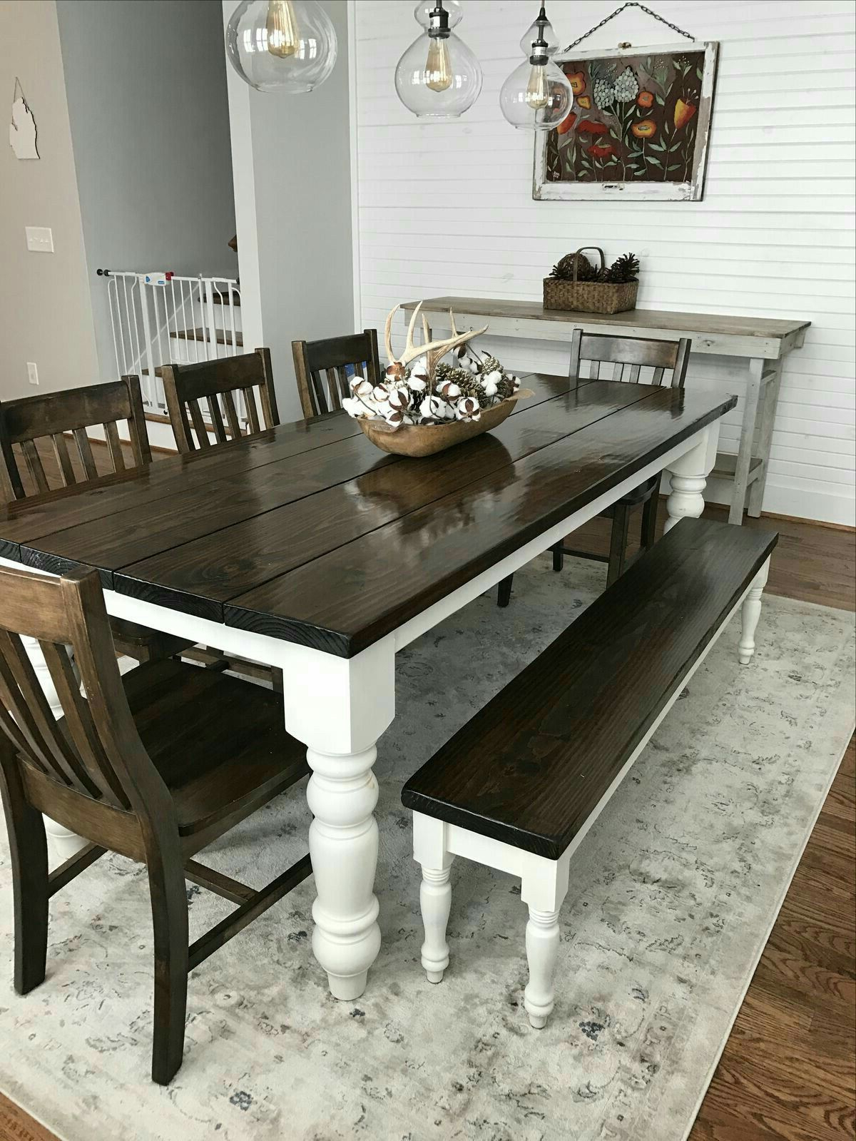 Most Recent Distressed Walnut And Black Finish Wood Modern Country Dining Tables Regarding No Bench But Love The White Against The Dark Wood (View 4 of 25)