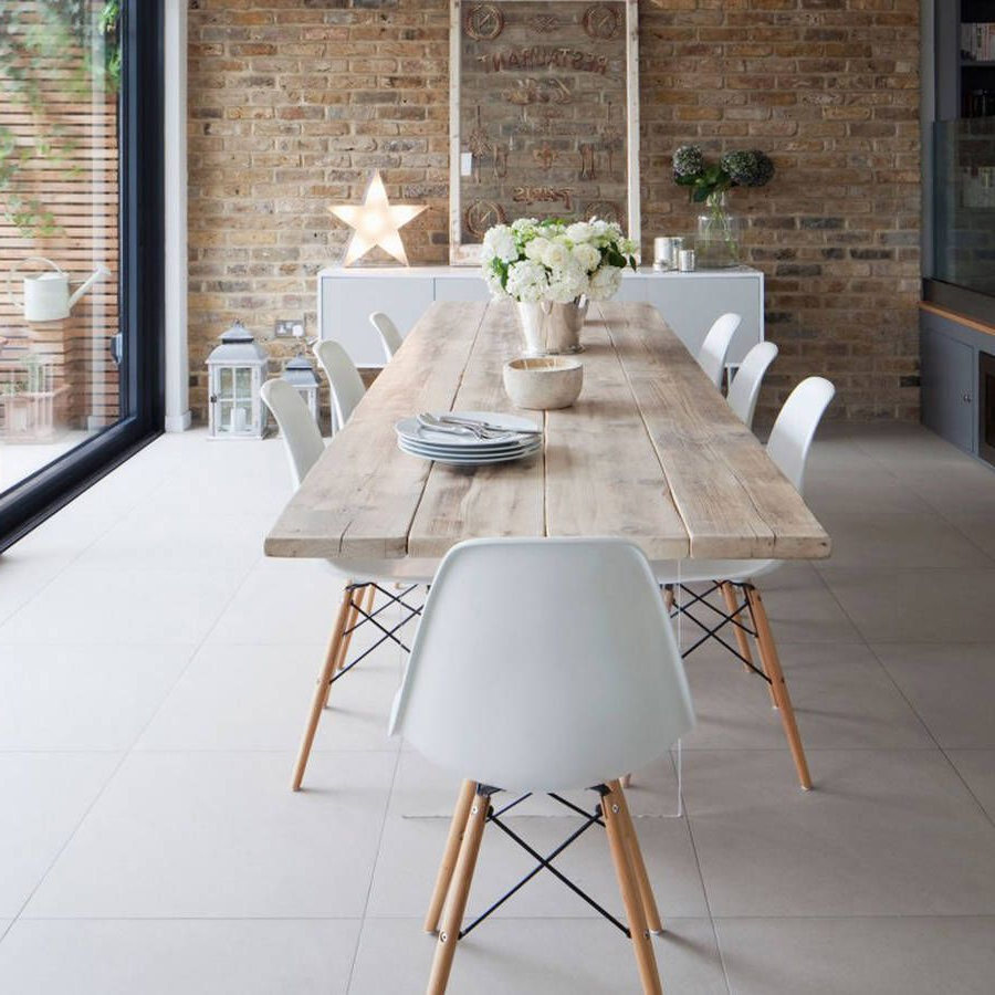 Most Recent Eames Style Dining Tables With Wooden Legs Pertaining To A White Dining Chair Set Of Four (View 8 of 16)
