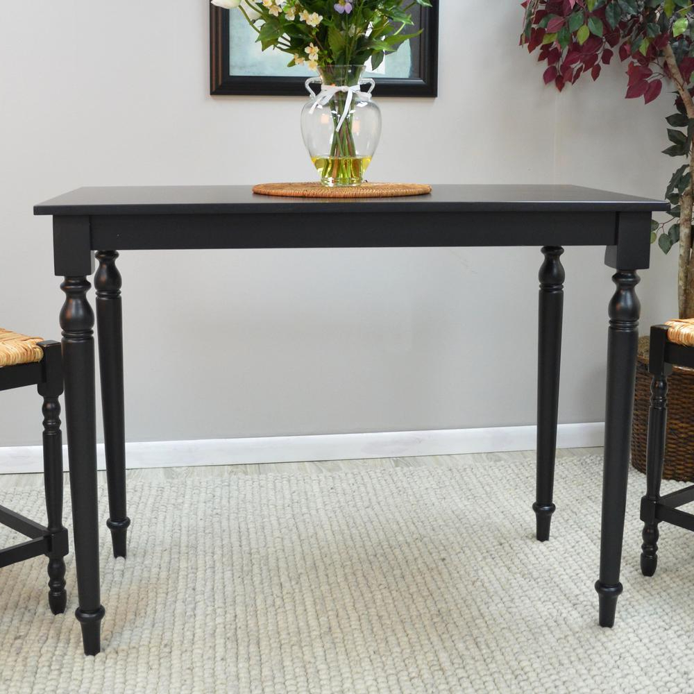 Most Recent Hawthorne Antique Black Pub/bar Table Regarding Antique Black Wood Kitchen Dining Tables (View 21 of 25)