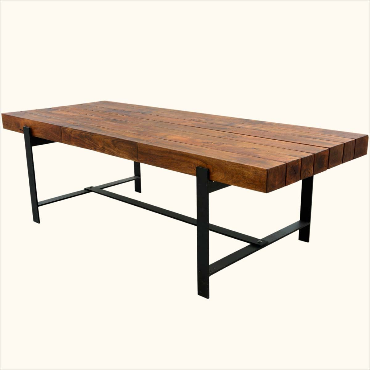 """Most Recent Industrial Iron & Acacia Wood 94"""" Large Rustic Dining Table With Regard To Unique Acacia Wood Dining Tables (View 12 of 25)"""