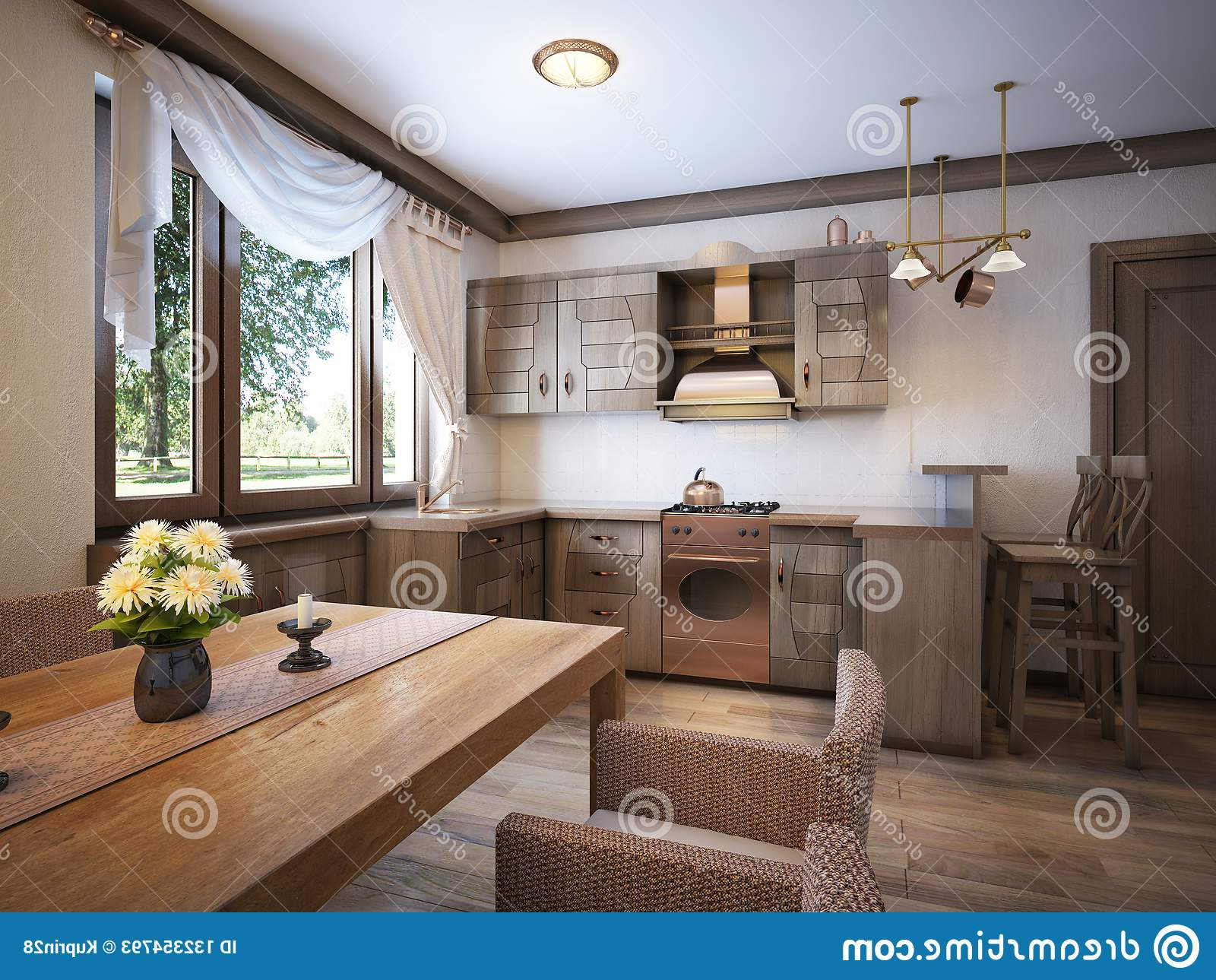 Most Recent Kitchen Rustic Style With A Dining Table And Wooden In Large Rustic Look Dining Tables (View 21 of 25)
