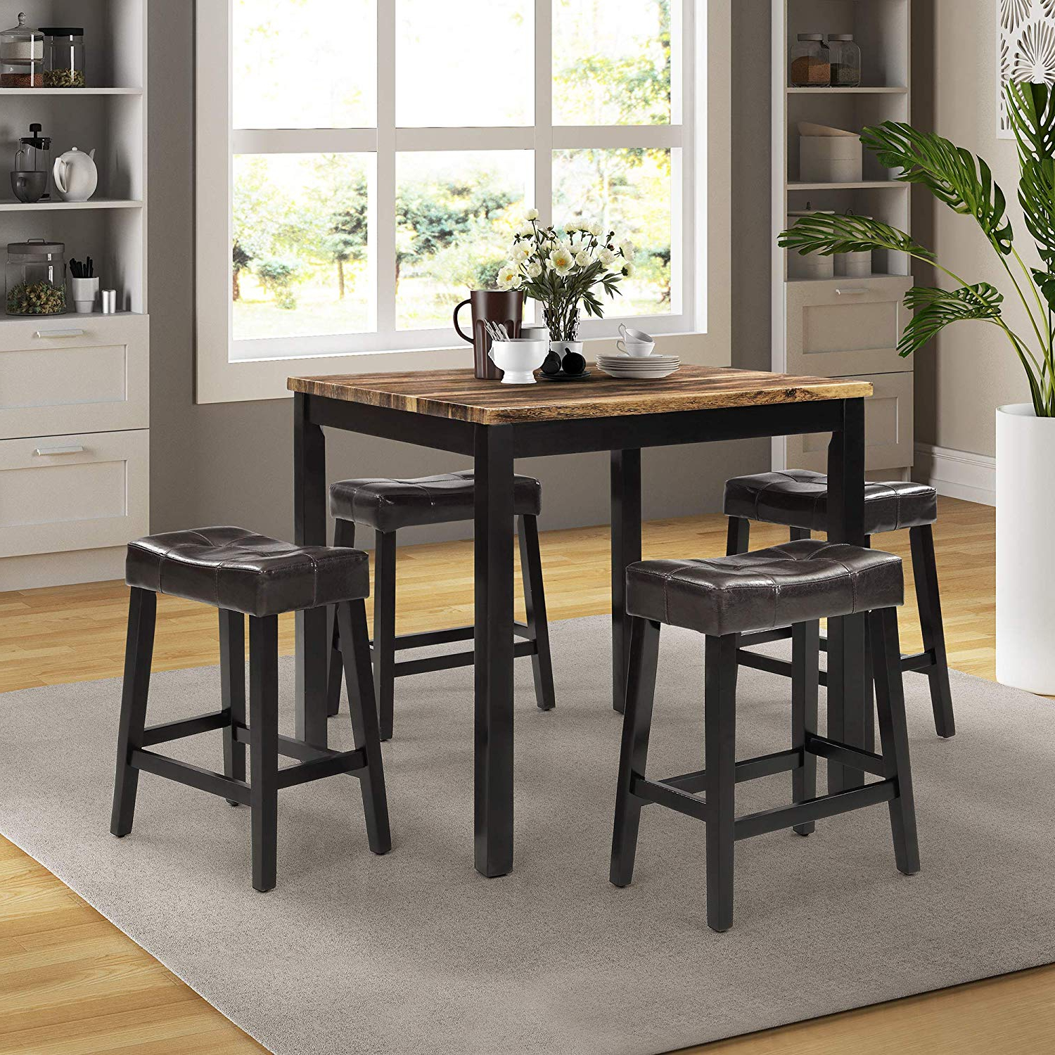 Most Recent Lokesi Kitchen Table Set, 5 Pieces Faux Marble Top Counter Height Dining  Table Set With 4 Stools (Brown) Inside Faux Marble Finish Metal Contemporary Dining Tables (View 17 of 25)