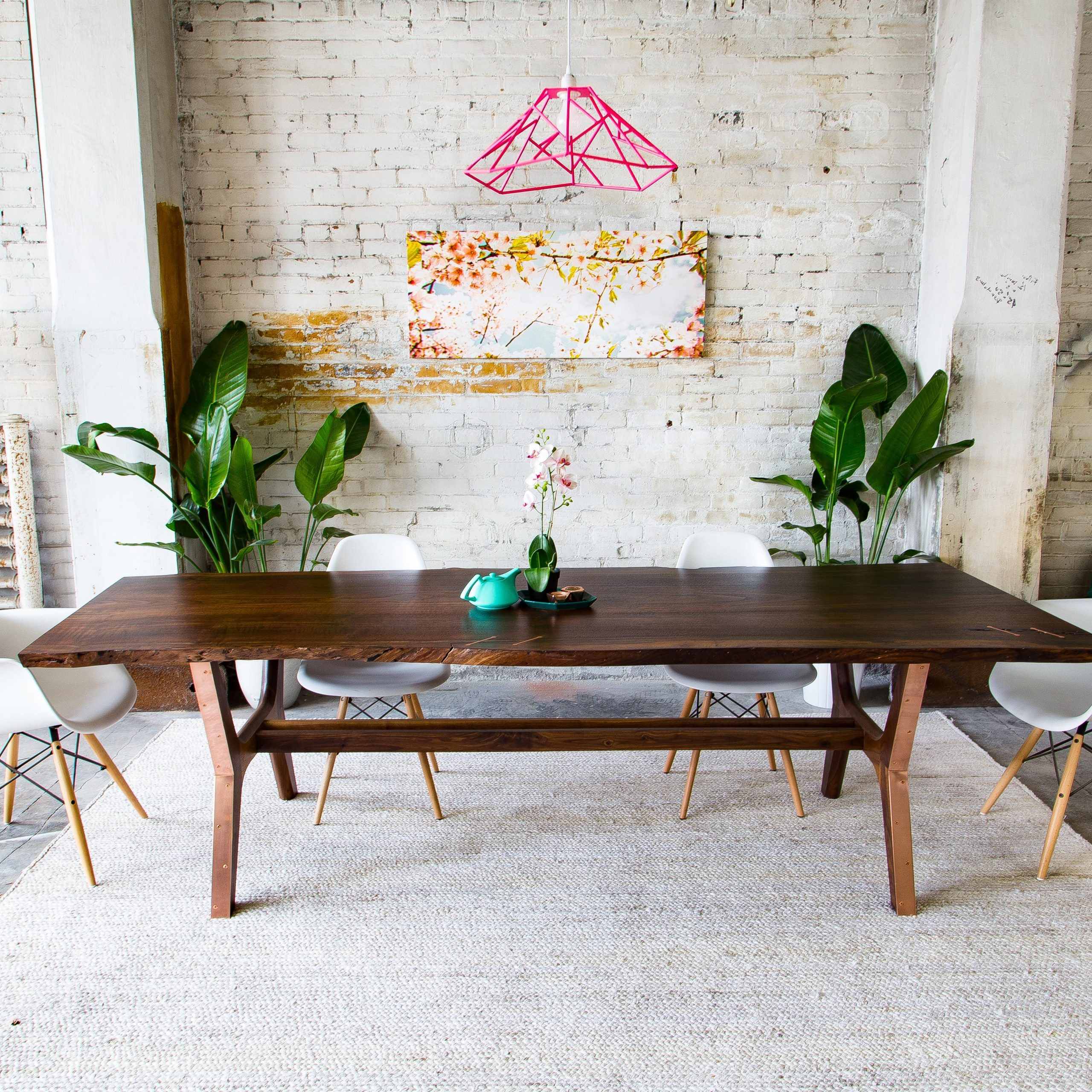 Most Recent Mid Century Rectangular Top Dining Tables With Wood Legs For Hand Made Claro Walnut + Copper Live Edge Midcentury Modern (View 14 of 25)