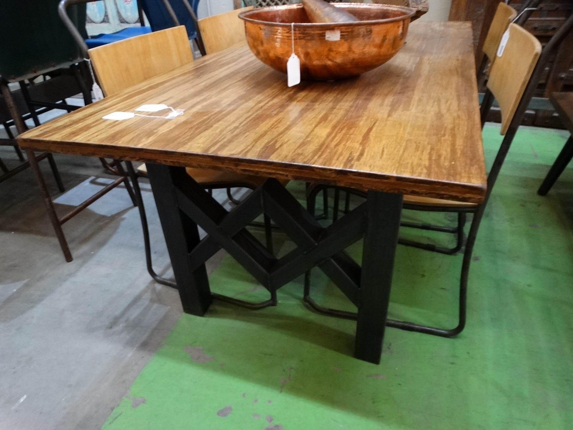 Most Recent Modern Rich Brown Wooden Farmhouse Dining Table Throughout Iron Wood Dining Tables (View 4 of 25)