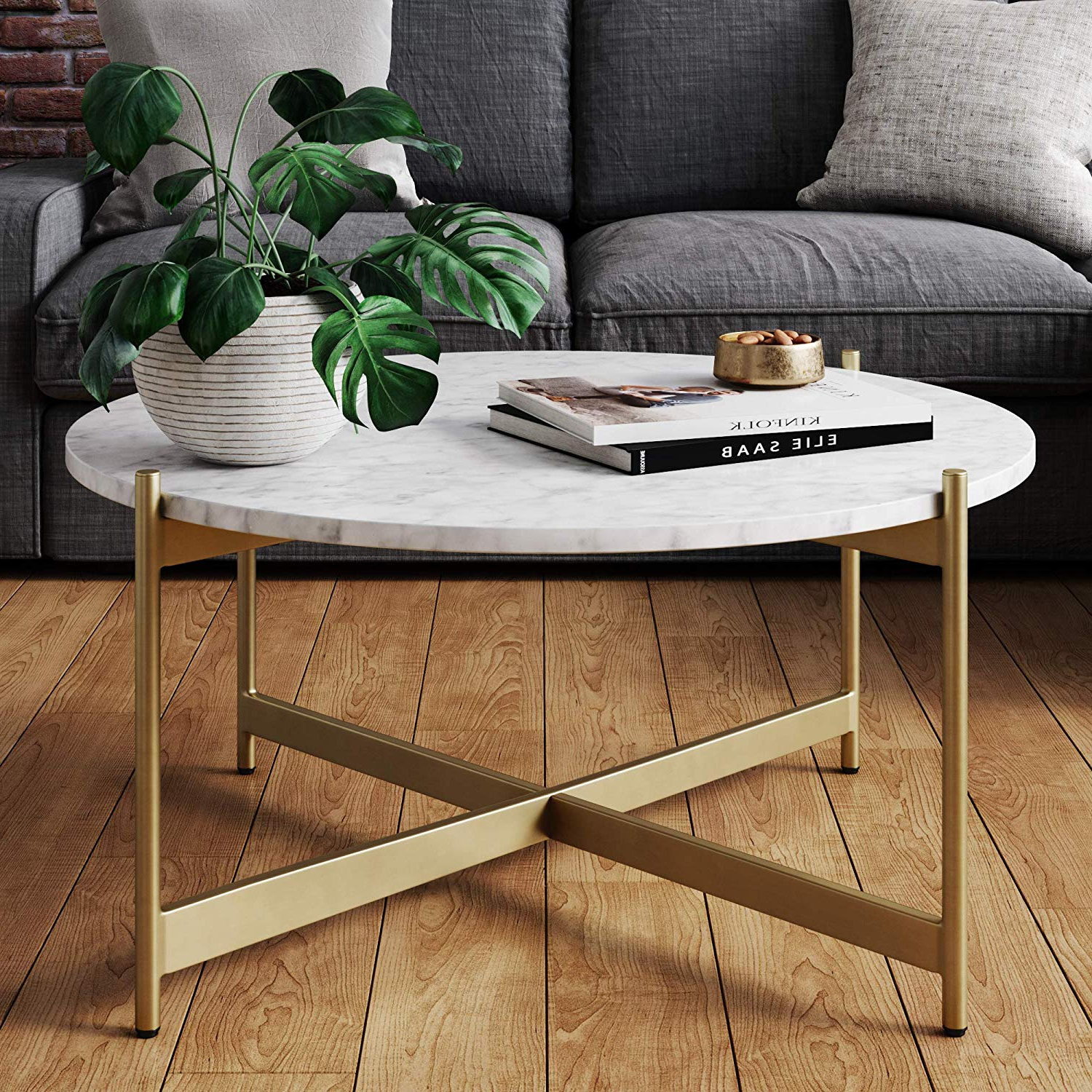 Most Recent Nathan James Piper Faux Marble Round Modern Living Room Coffee Table With  Brass Metal Frame, Gold Intended For Faux Marble Finish Metal Contemporary Dining Tables (View 18 of 25)