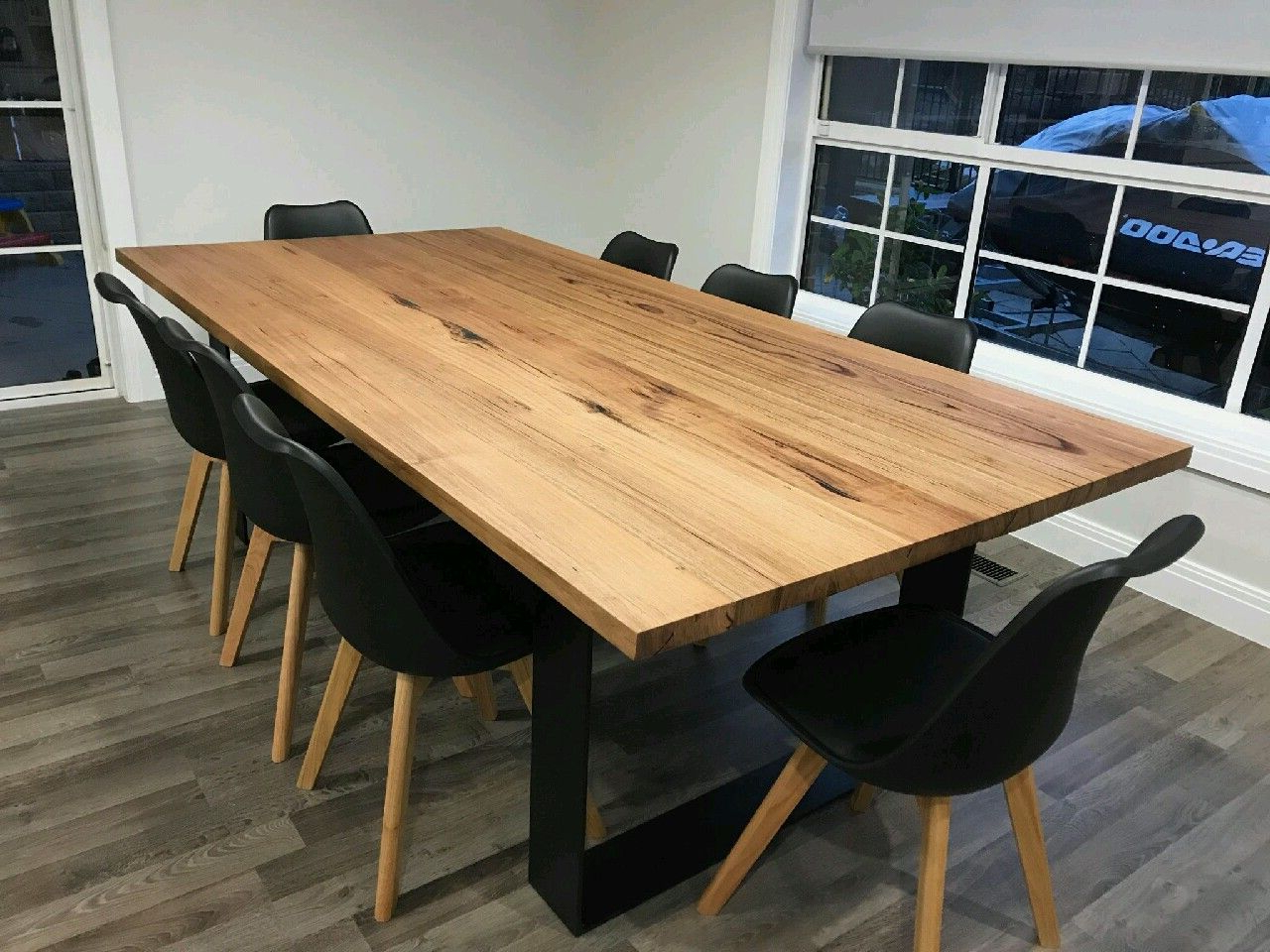 Most Recent Recycled Messmate Dining Table With Black Flat Bar Metal With Dining Tables With Black U Legs (View 4 of 25)