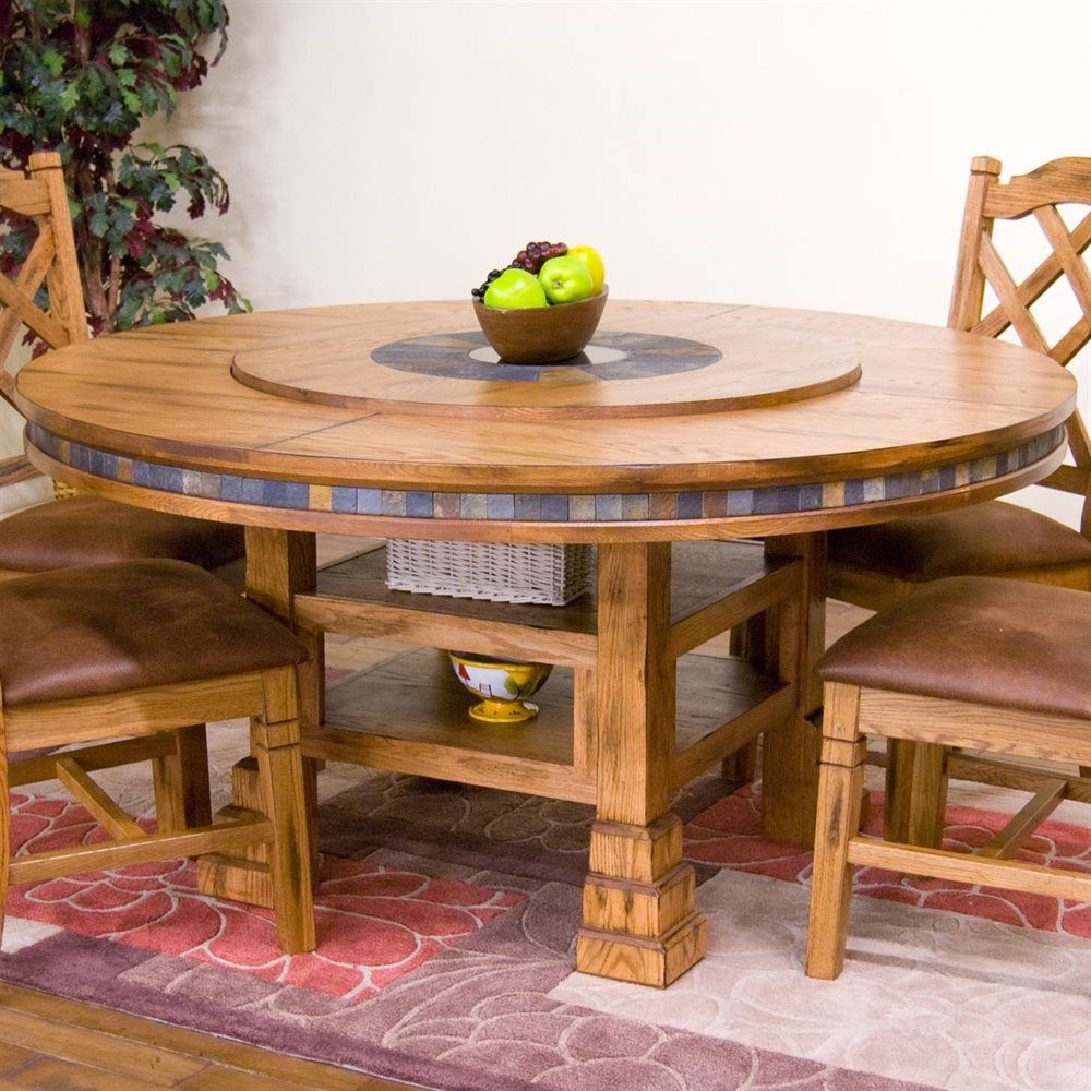 """Most Recent Sunny Designs 1225Ro Sedona 60"""" Round Table With Lazy Susan With Regard To Alamo Transitional 4 Seating Double Drop Leaf Round Casual Dining Tables (View 19 of 26)"""