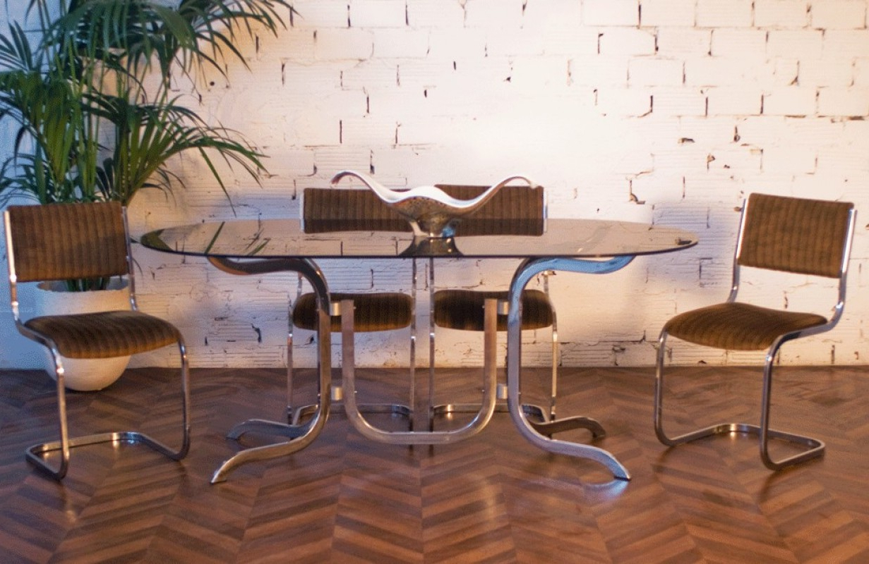 Most Recently Released 70's Smoked Glass Dinning Table And Chairs, Dining Table Within Smoked Oval Glasstop Dining Tables (View 24 of 25)