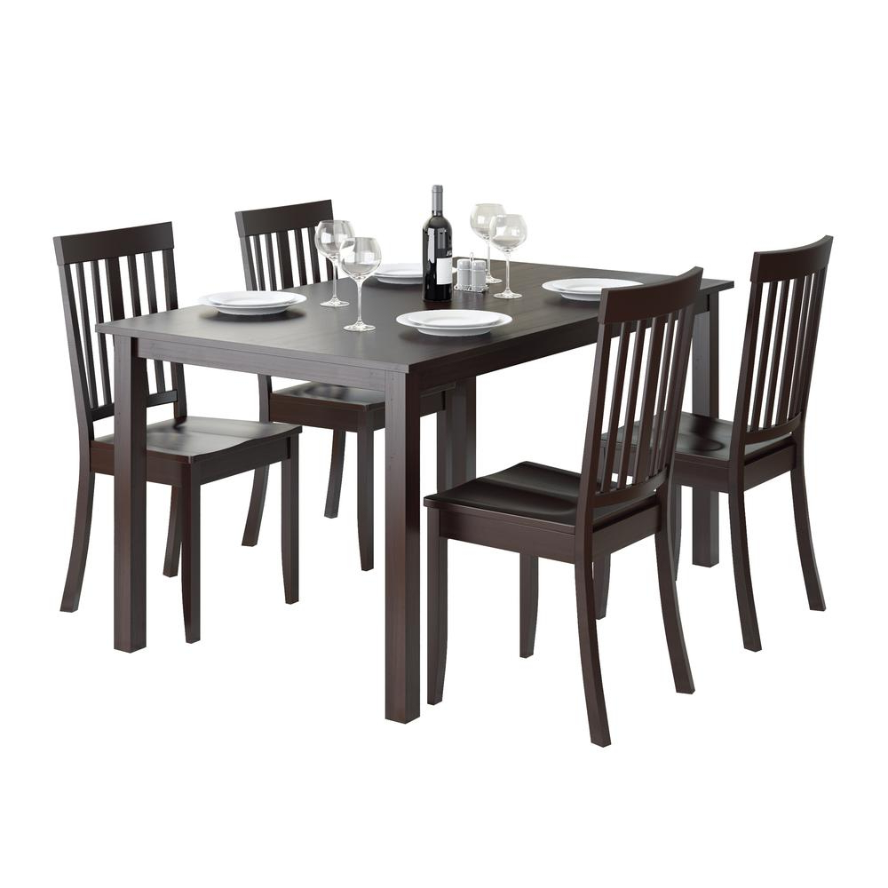 Most Recently Released Atwood Transitional Rectangular Dining Tables With Details About Atwood 5Pc Dining Set, With Cappuccino Stained Chairs (View 10 of 25)