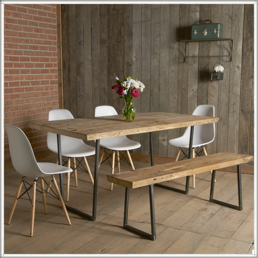 Most Recently Released Small Rustic Look Dining Tables Intended For Modern Small Industrial Dining Table Factory Style And Bench (View 13 of 25)
