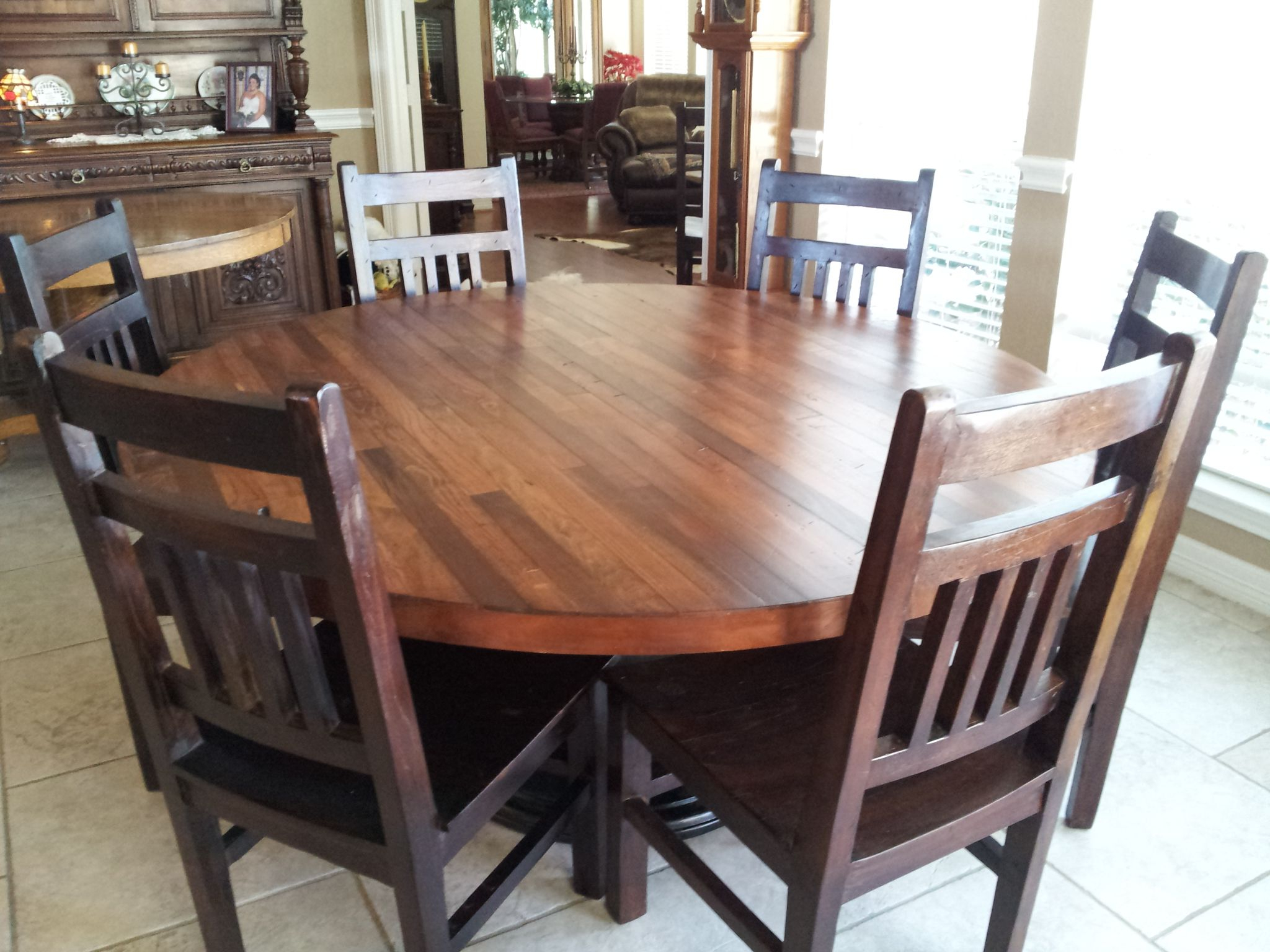 Most Recently Released Wood Top Dining Tables With Regard To Hand Made Hand Crafted 66 Inch Plank Top Dining Tableb (View 13 of 25)