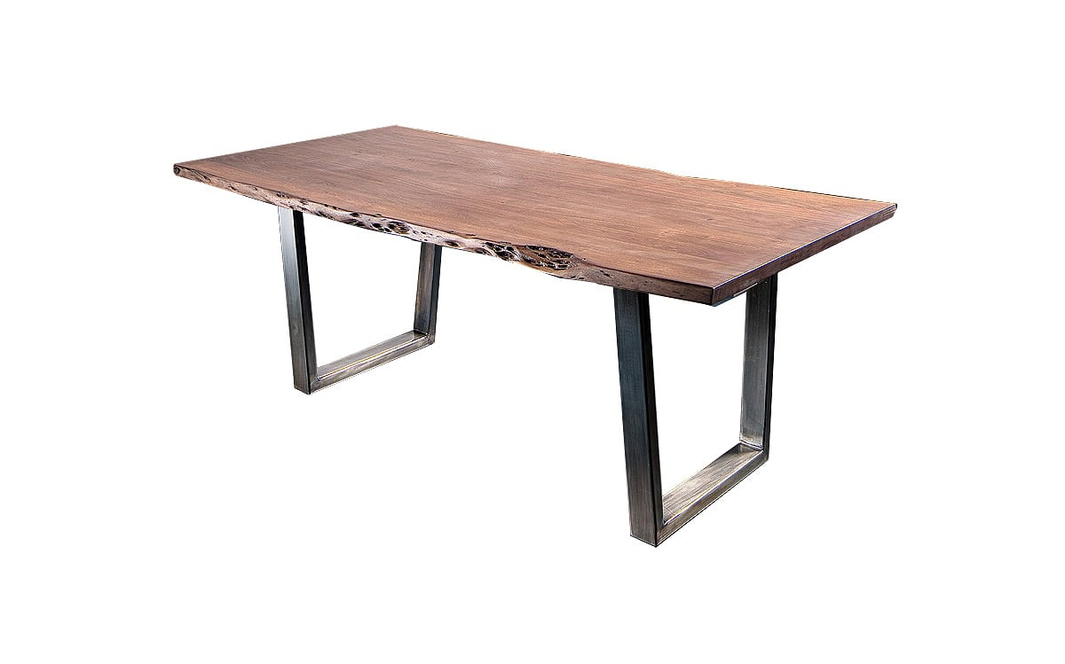 Most Up To Date Acacia Wood Top Dining Tables With Iron Legs On Raw Metal Intended For Catalana 180Cm Solid Wood Wide Dining Table (View 19 of 25)