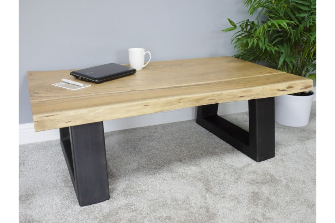 Most Up To Date Acacia Wood Top Dining Tables With Iron Legs On Raw Metal Regarding Rustic Industrial Style Raw Acacia Wooden Coffee Table Iron Metal Legs  (Dx5360) (View 17 of 25)