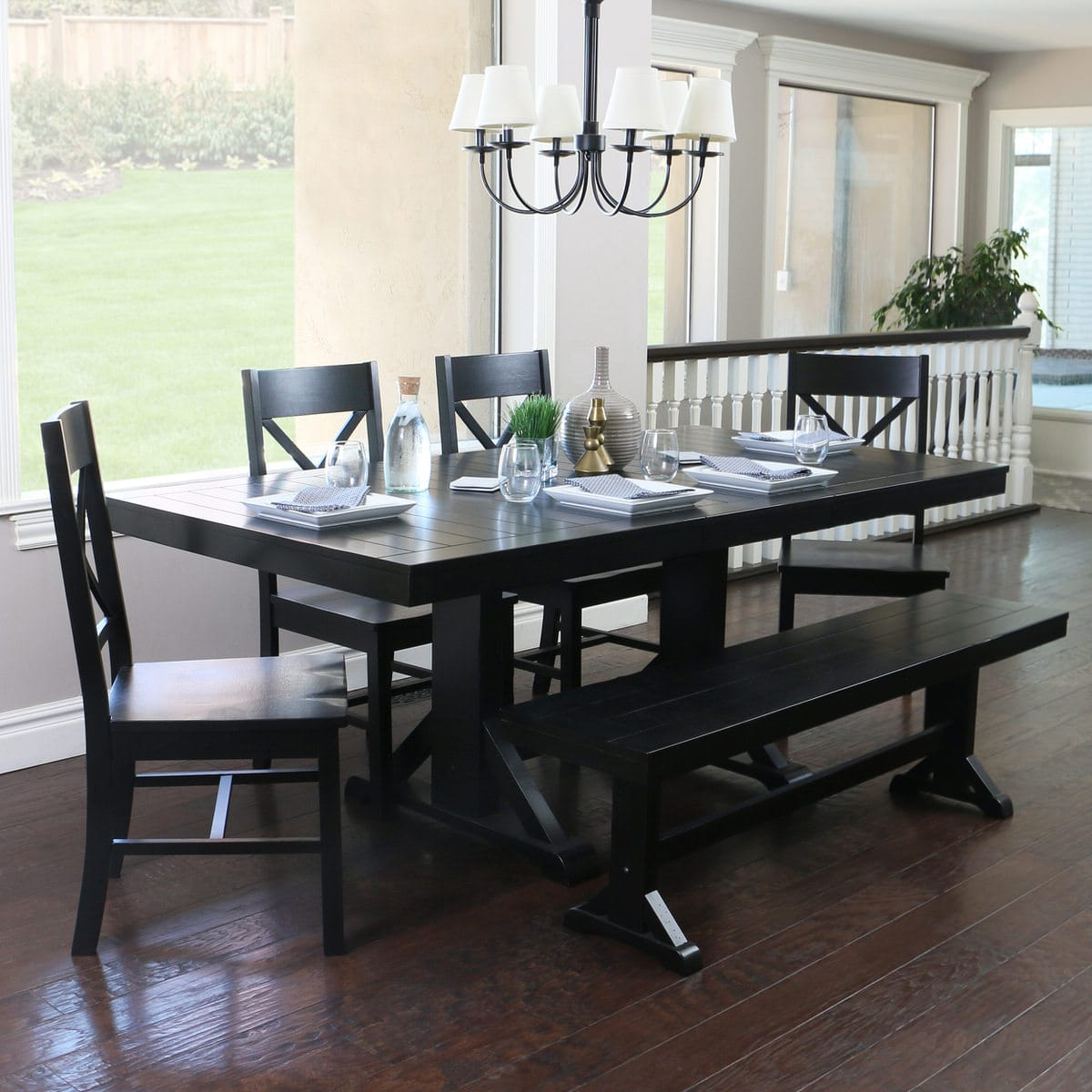 Most Up To Date Antique Black Wood Kitchen Dining Tables For Antique Black Wood 6 Piece Dining Kitchen Setwalker Edison (View 18 of 25)
